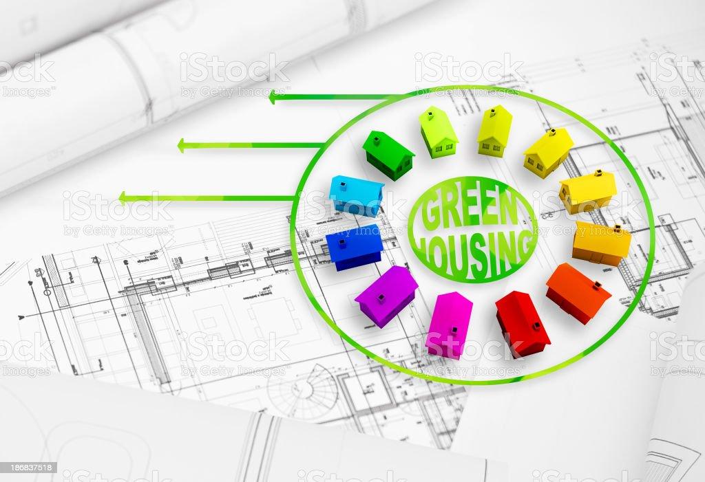 Green housing development and planning stock photo