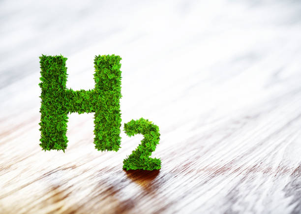 Green hydrogen element sign on blurred wooden background. 3D illustration. stock photo