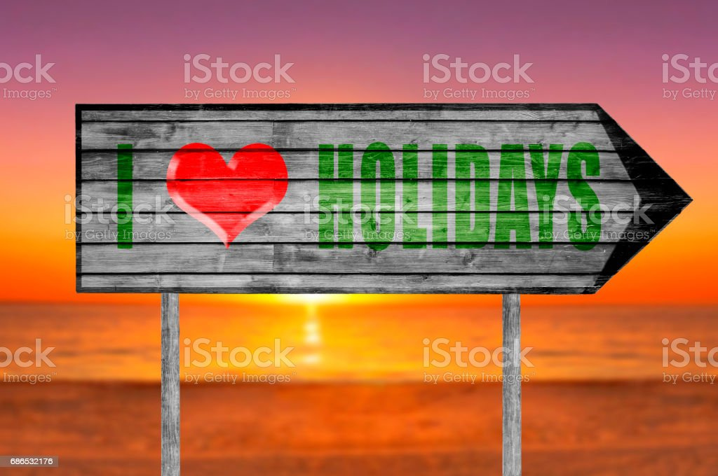 Green I love holidays wooden sign foto stock royalty-free