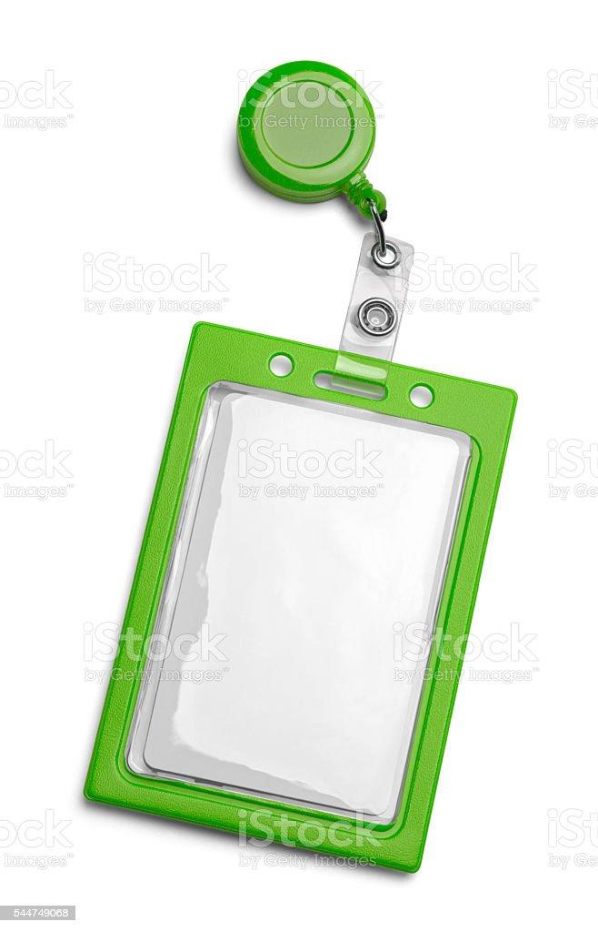 Green ID Badge stock photo