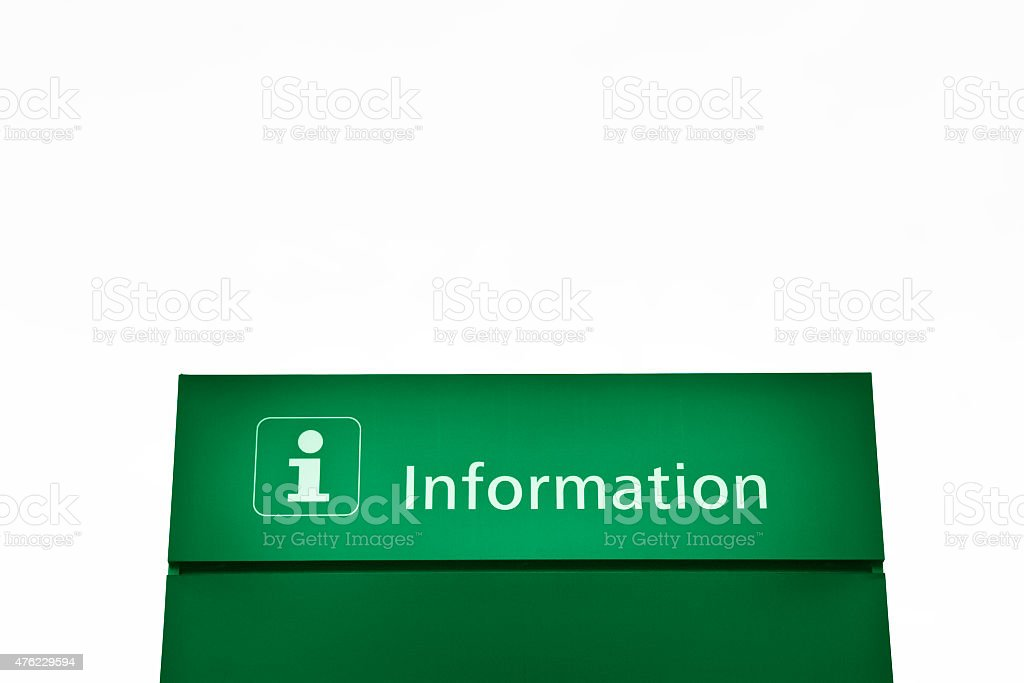 Green information Sign on white background stock photo