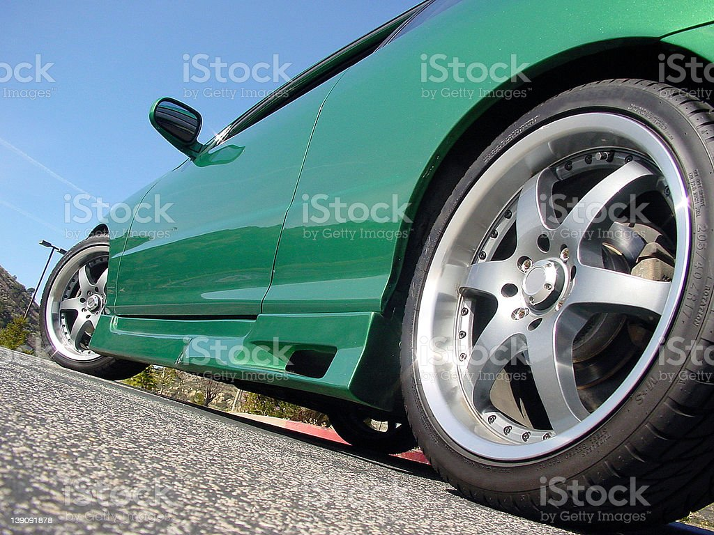 Green integra with wheels and kit (28) stock photo