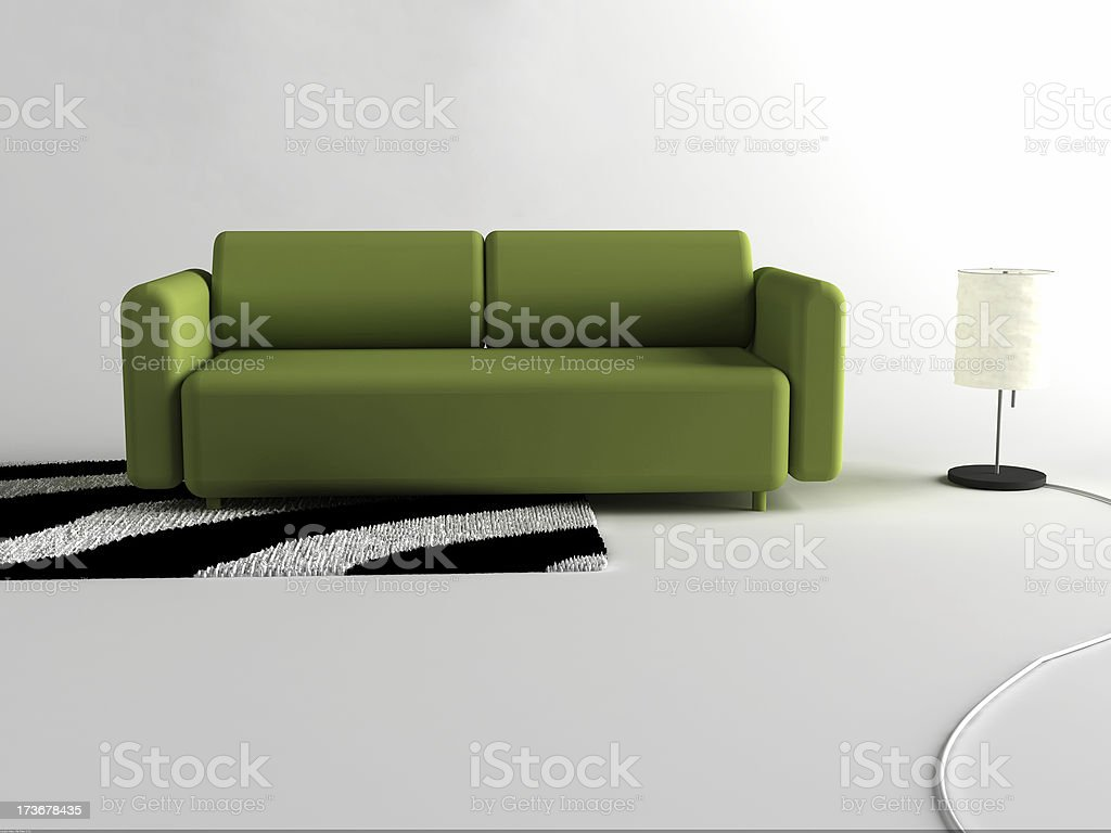Green Interior Couch royalty-free stock photo