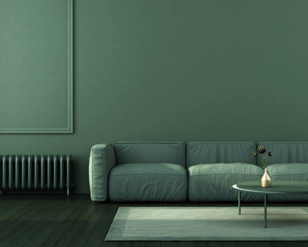 Green interior of living room stock photo