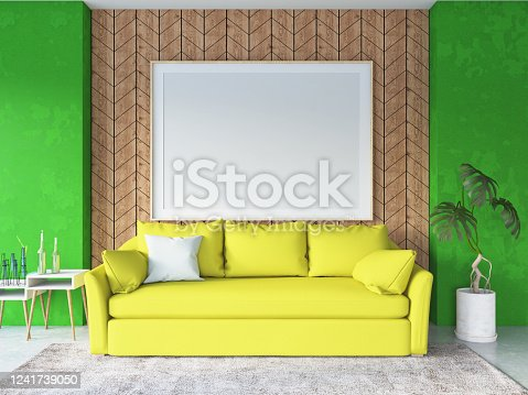 902720222 istock photo Green Interior of Living Room with Sofa and Empty Picture Frame 1241739050