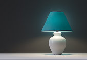green interior table lamps - 3d rendering