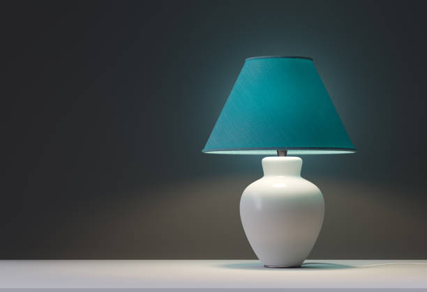 green interior table lamps stock photo