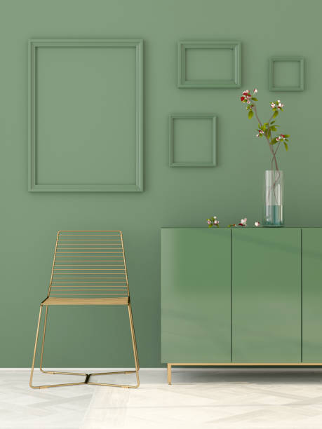 Green interior with a golden chair - foto stock