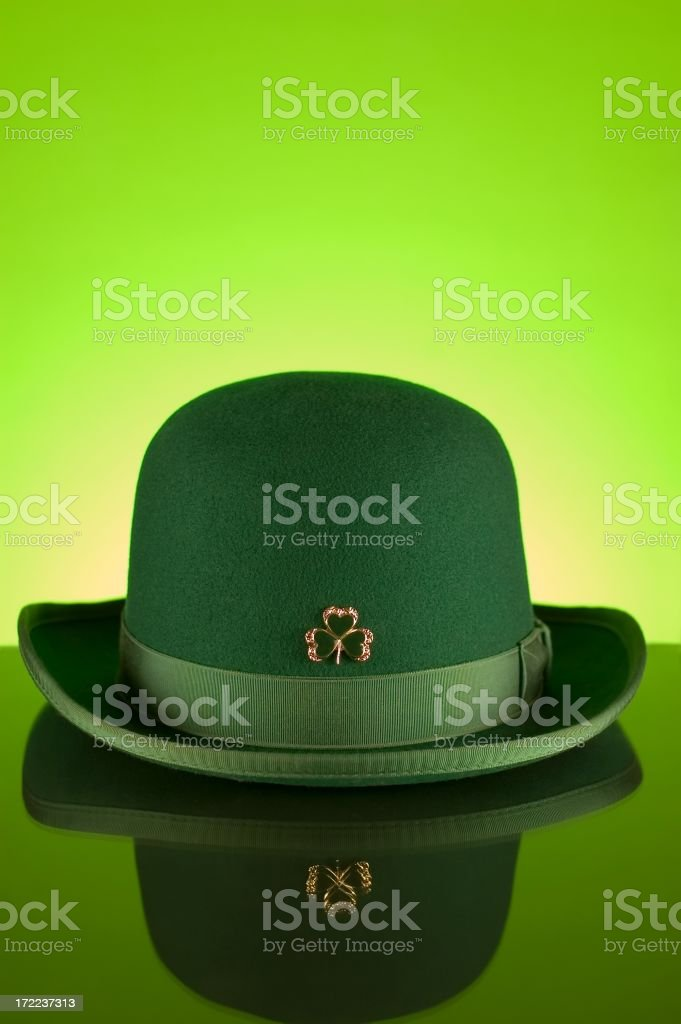 Green Irish Bowler Hat with Clover for St Patrick's Day royalty-free stock photo