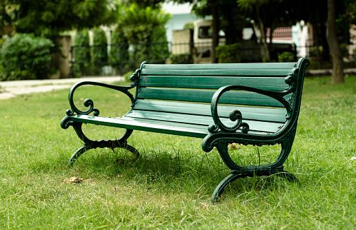 Green Iron Benches