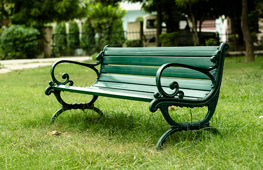Green Iron Benches