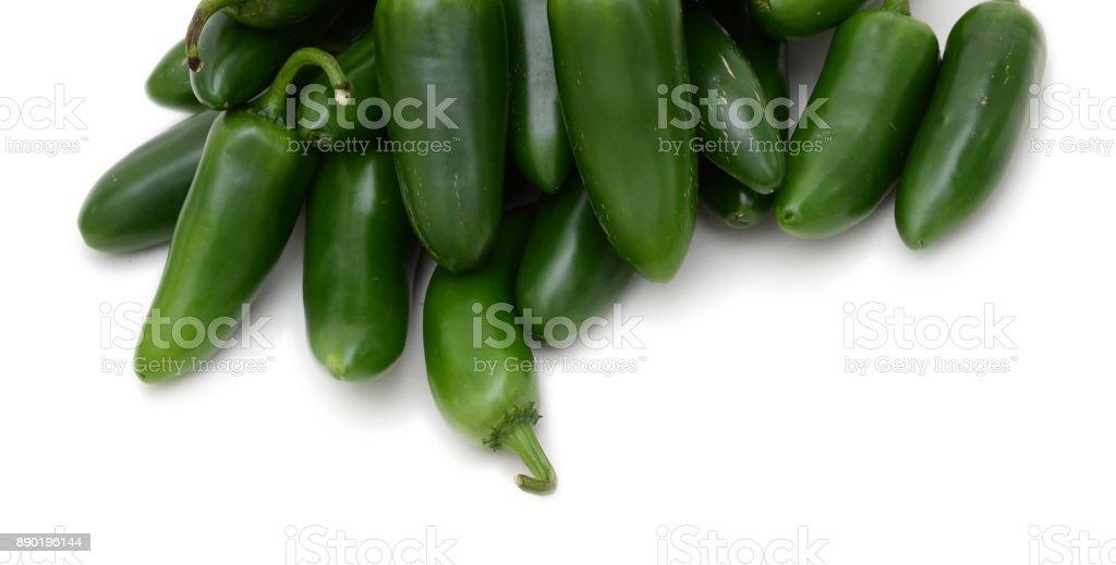 Green jalapenos pepper on white background isolate stock photo