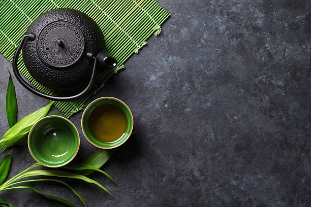 green japanese tea - tea hot drink stock photos and pictures