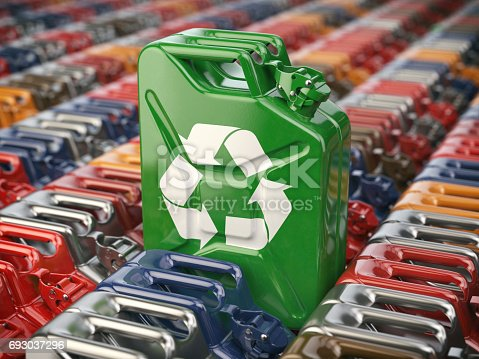 istock Green jerrycan with recycle sign. Biofuel, recycling and energy consrevation. 693037296
