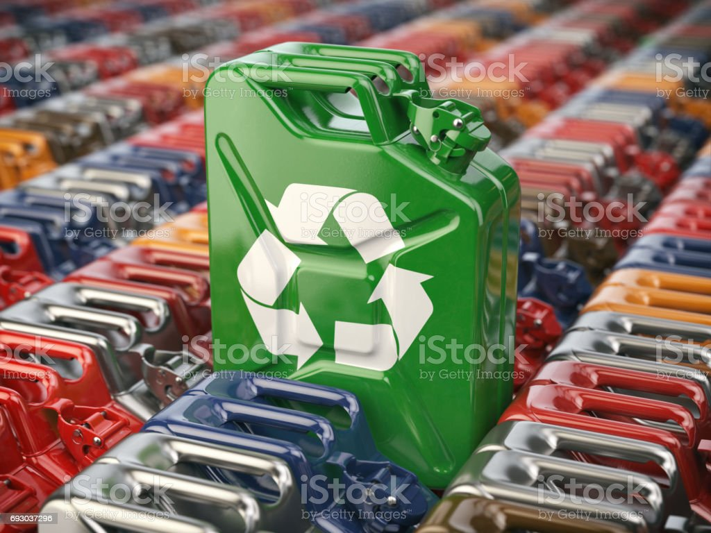 Green jerrycan with recycle sign. Biofuel, recycling and energy consrevation. stock photo