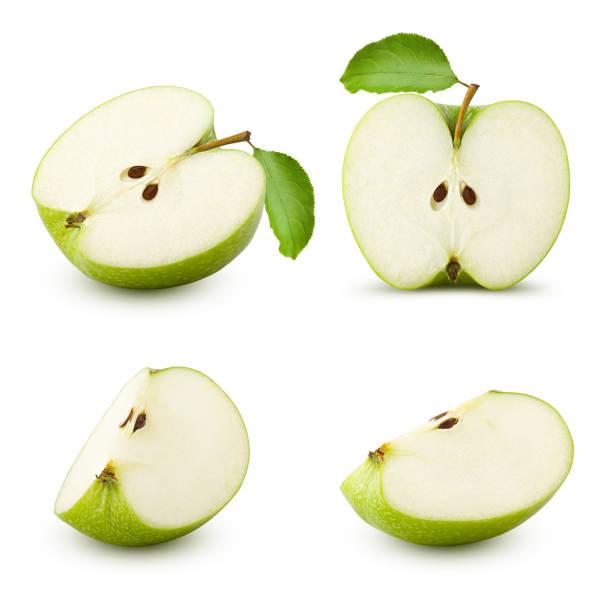 segment van de groene sappige appel geïsoleerd op een witte achtergrond, uitknippad, volledige diepte van het veld - appel stockfoto's en -beelden