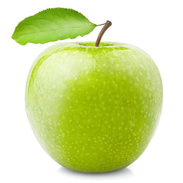 grüne saftige glänzenden apfel auf weißem hintergrund, isoliert, qualitativ hochwertige fotos mit beschneidungspfad - innocent saft stock-fotos und bilder