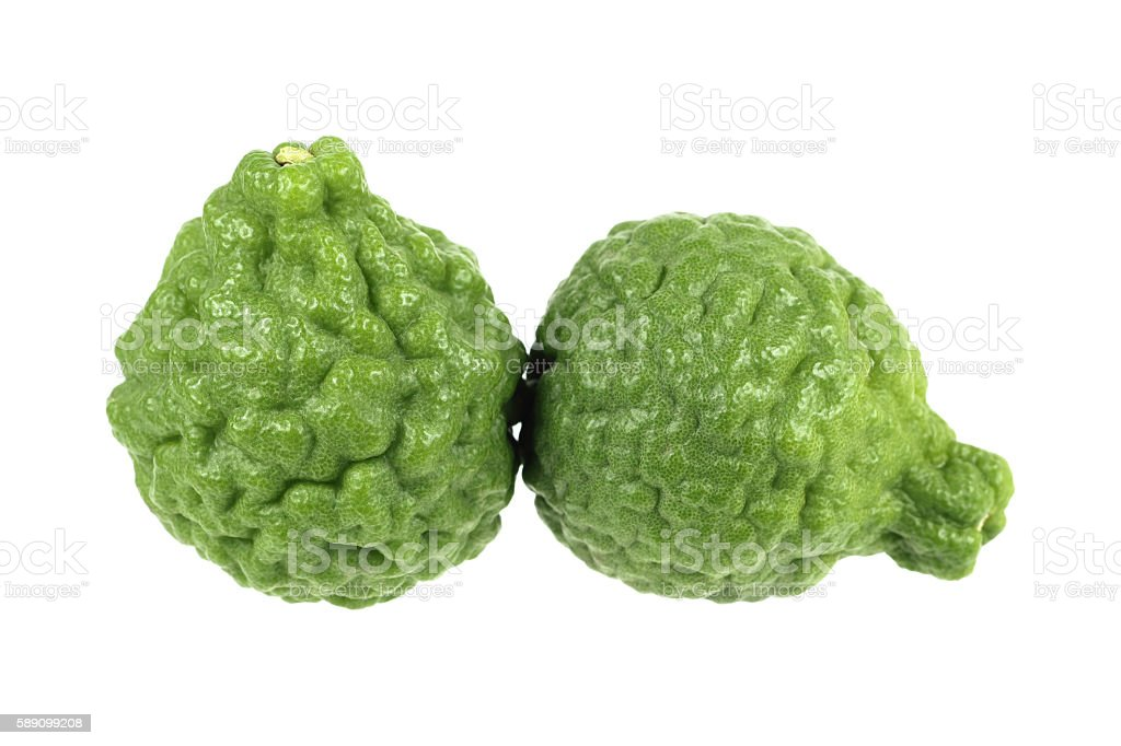 green kaffir lime isolated on white stock photo
