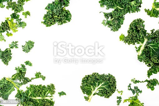 Green kale leaves on white background. Copy space