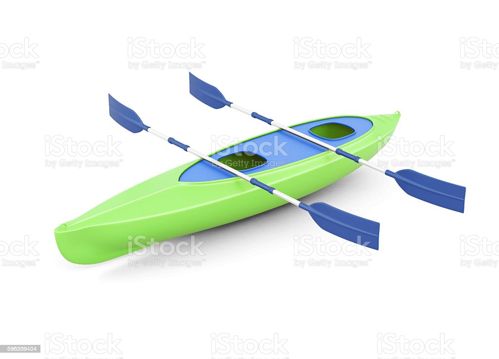 Green kayak with paddles isolated on a white background. royalty-free stock photo