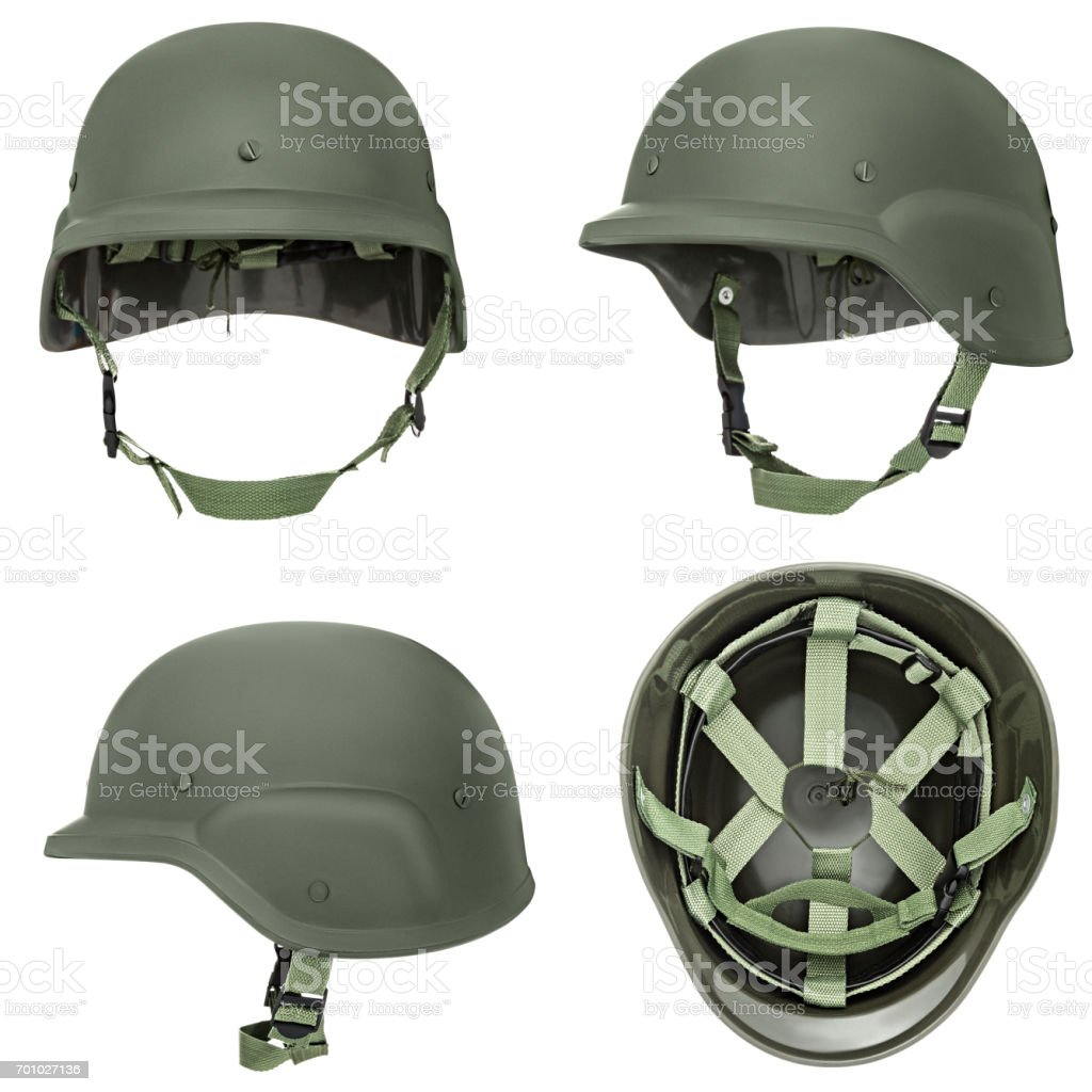 Green, khaki military helmet stock photo