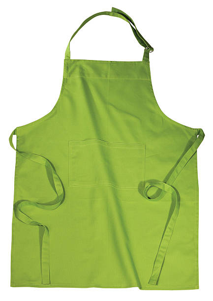 green kitchen apron isolated on white background - apron stock pictures, royalty-free photos & images
