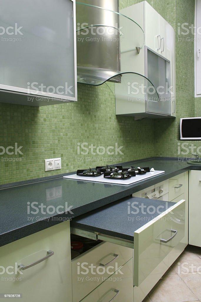 Green kitchen royalty-free stock photo