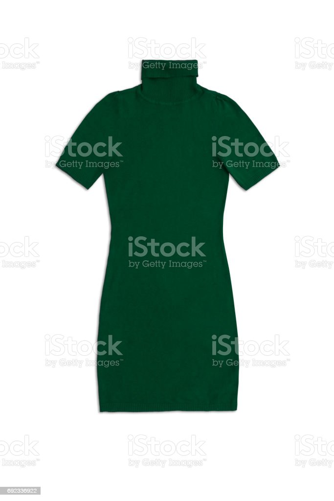 green knit dress isolated on white background stock photo