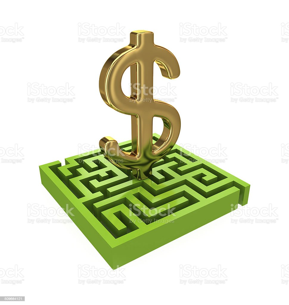 Green Labyrinth And Golden Dollar Sign Stock Photo