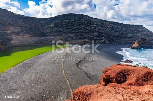 istock Green lagoon named Charco Verde, El Golfo, Lanzarote 1170627031