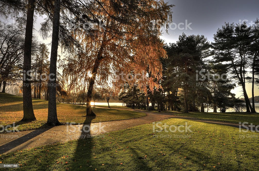 Green Lake in the Autumn Morning stock photo