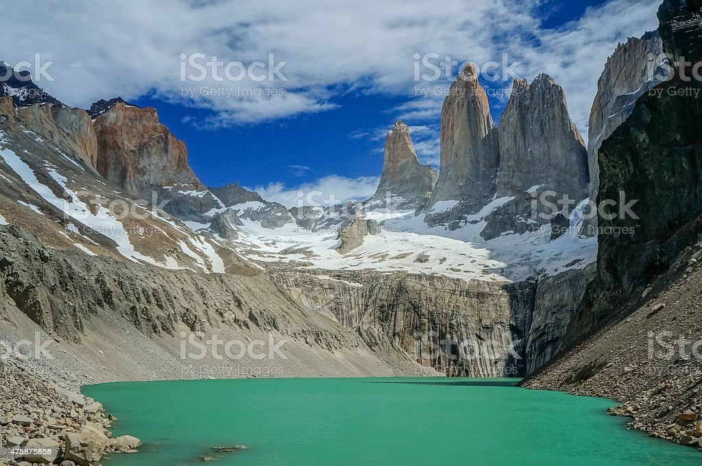 Green lake in the mountains stock photo
