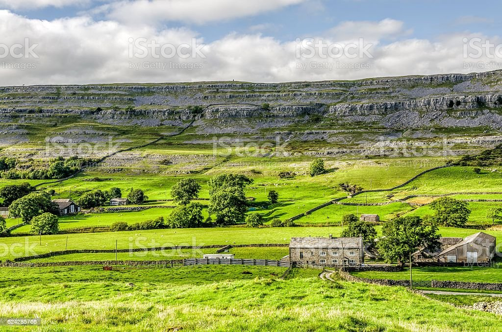 Green landscape of Yorkshire Dales, England stock photo