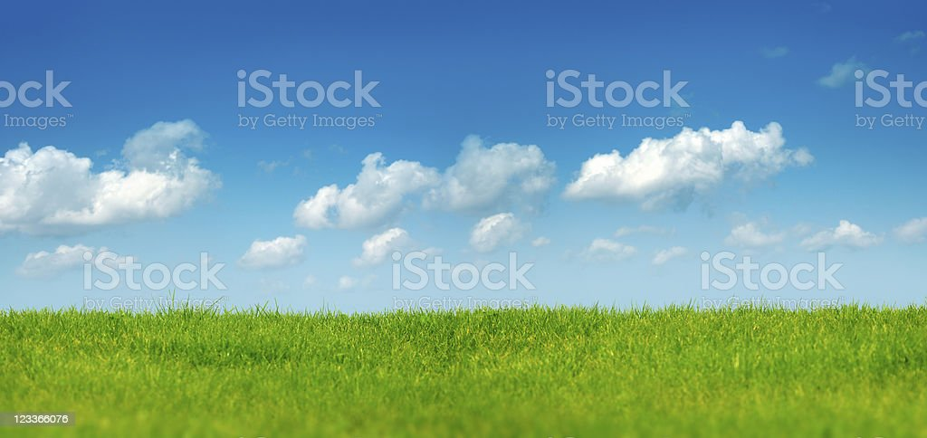 green landscape over clear sky stock photo