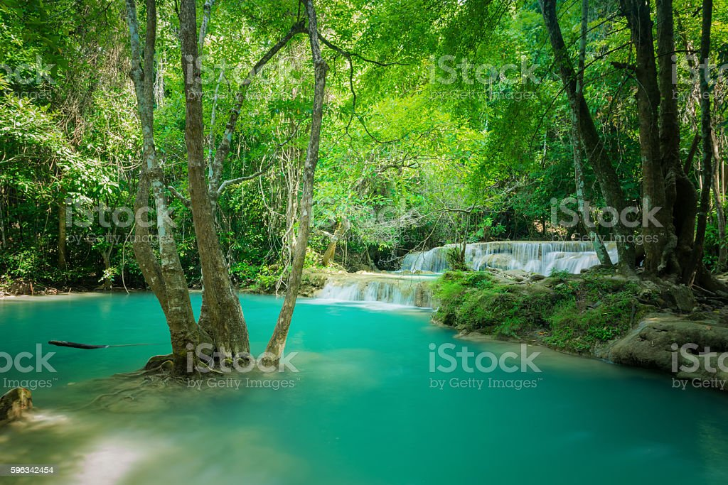 Green landscape with green waterfall royalty-free stock photo
