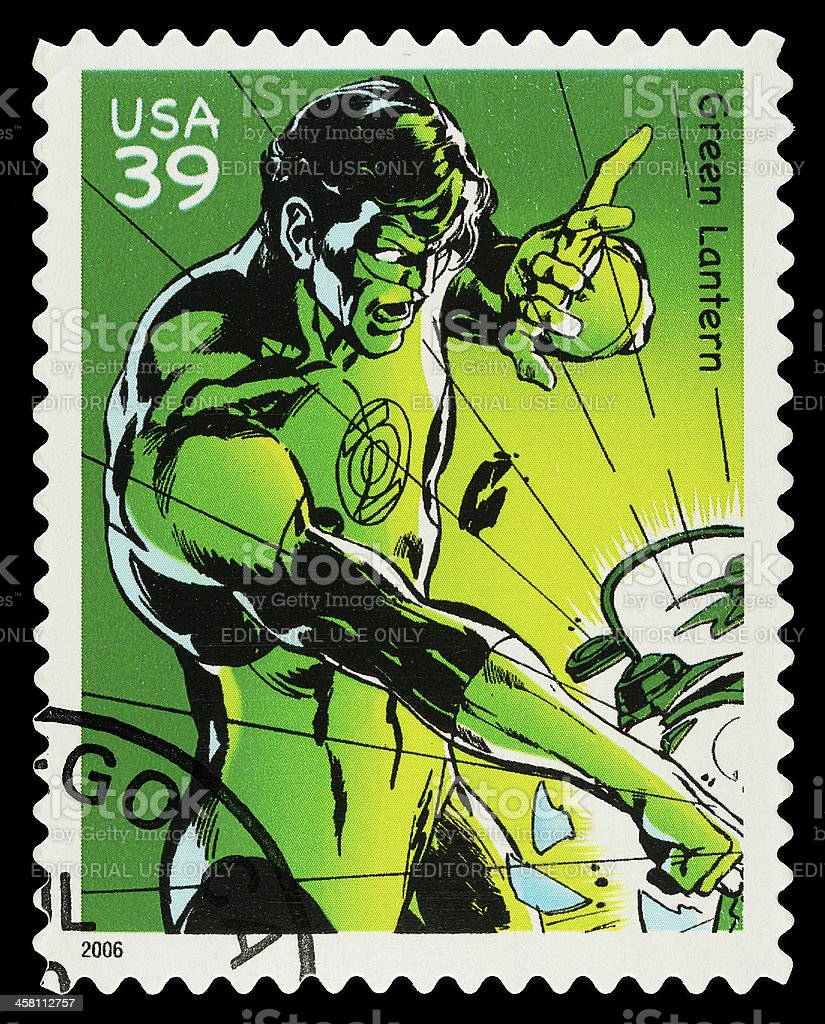 Green Lantern Superhero Postage Stamp stock photo