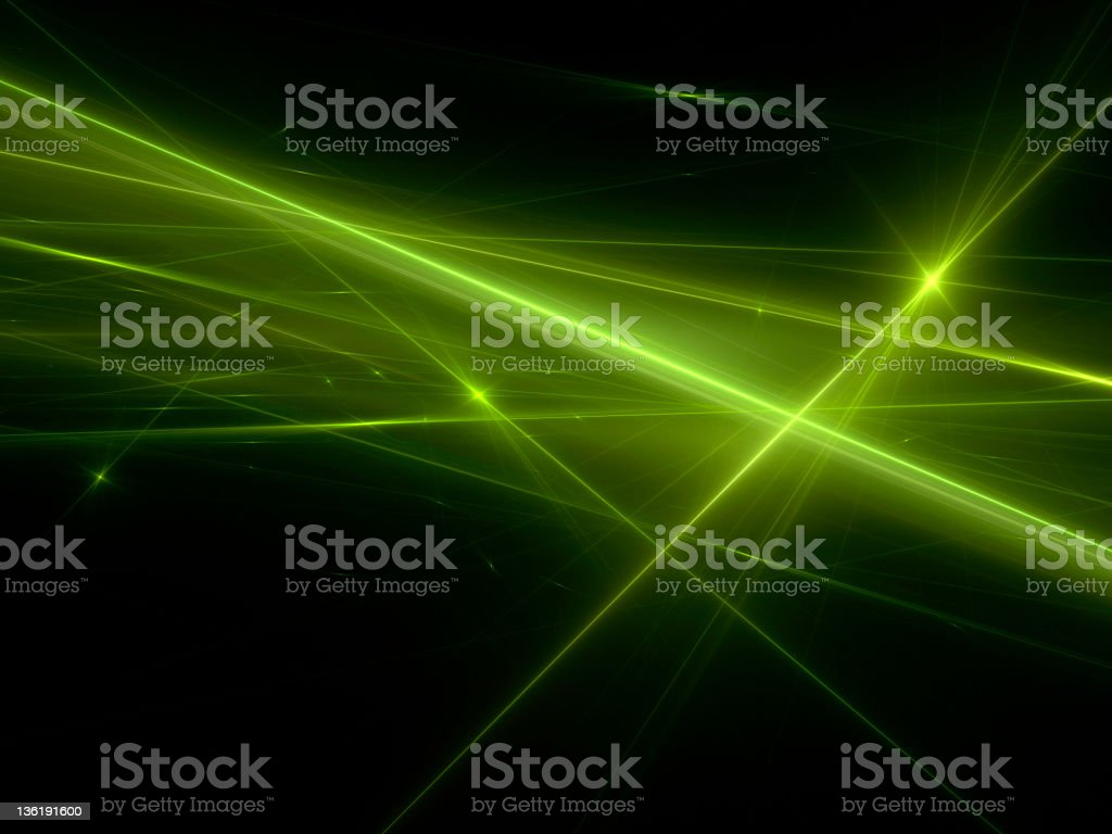 Green laser lights effect in black background stock photo