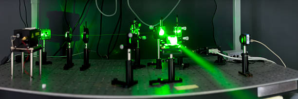green lasers in the laboratory stock photo