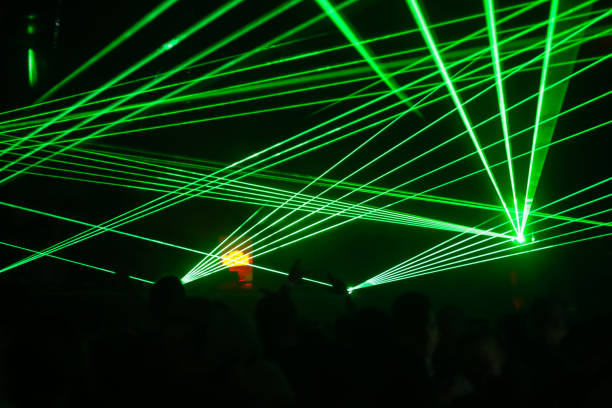 Green lasers stock photo