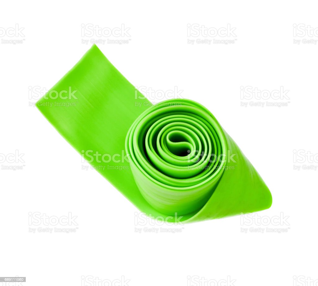 Green latex band for fitness stock photo
