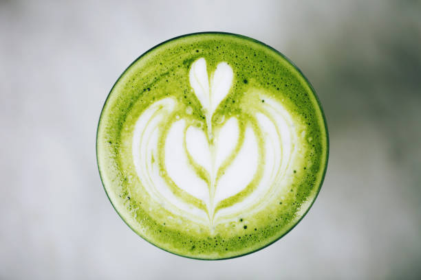 Green latte from above stock photo