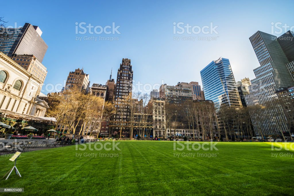 Green Lawn and Skyscrapers in Bryant Park NYC stock photo