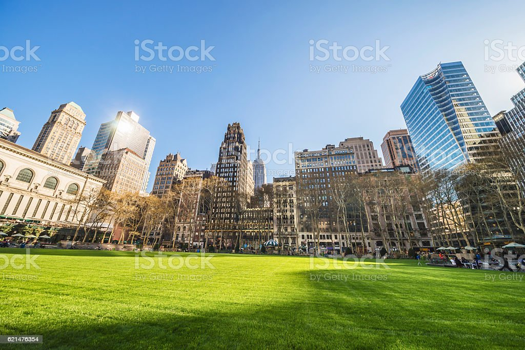 Green Lawn and Skyscrapers viewed from Bryant Park stock photo