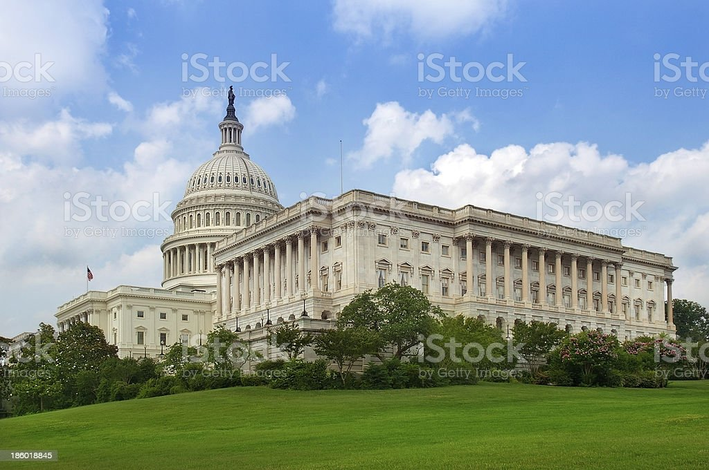 green lawn behind the Capitol building, Washington stock photo
