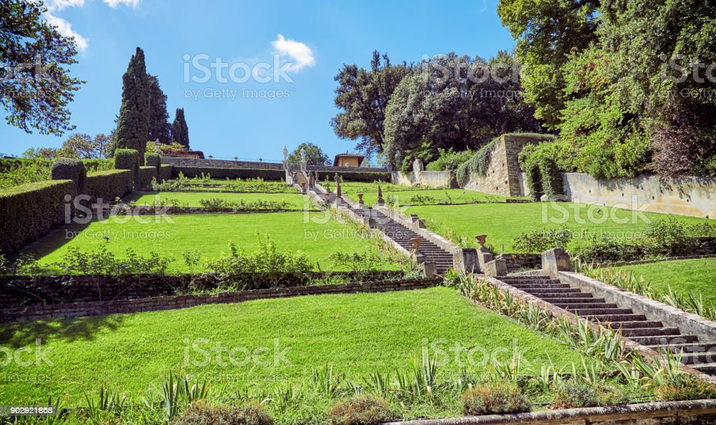 Green Lawn In The Garden Of Bardini In Florence Stock Photo