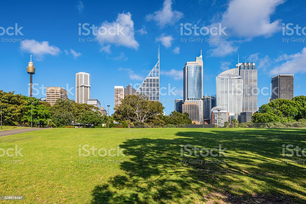 Green lawn with modern building as background in Sydney, Austral stock photo