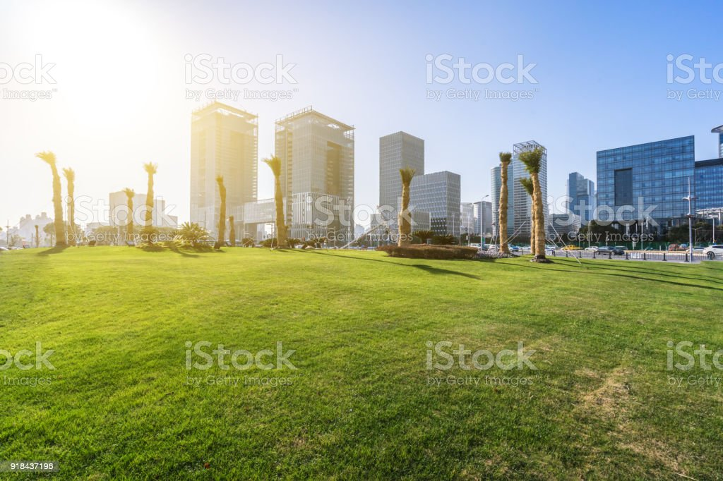 Green Lawn With Modern Office Building Royalty Free Stock Photo