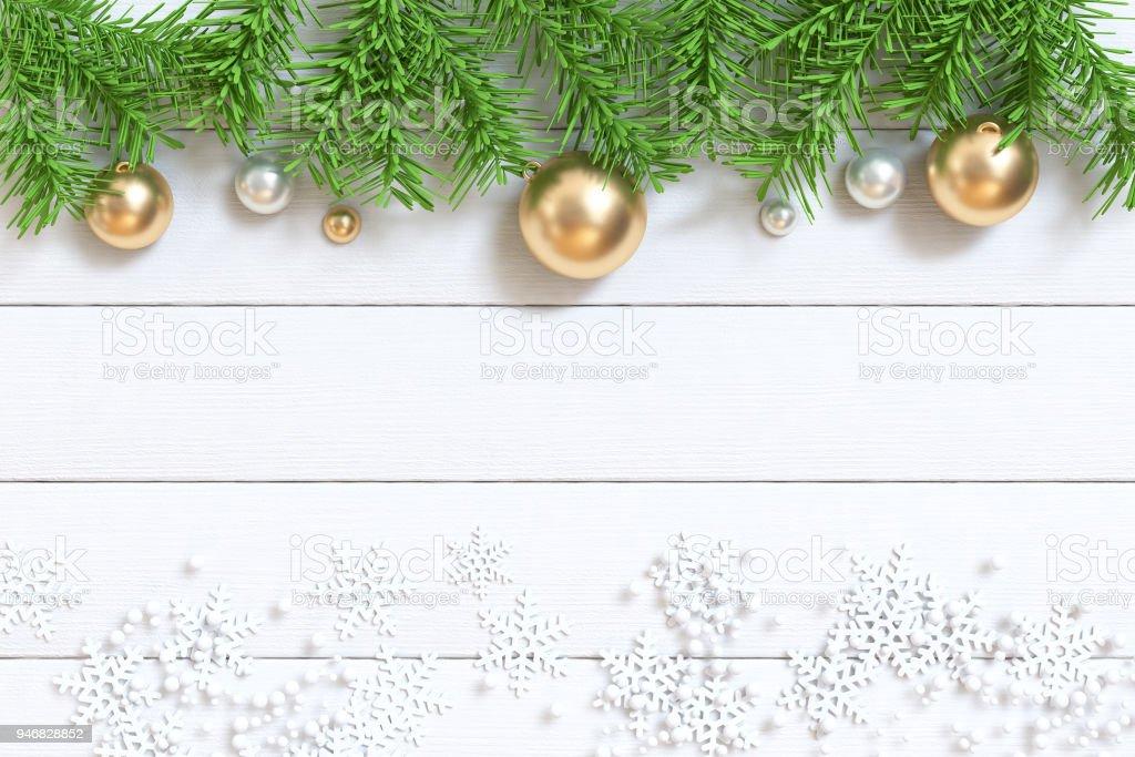 Grünes Blatt Weihnachtsbaum Ober Und Gold Metallic Kugel Weißen ...