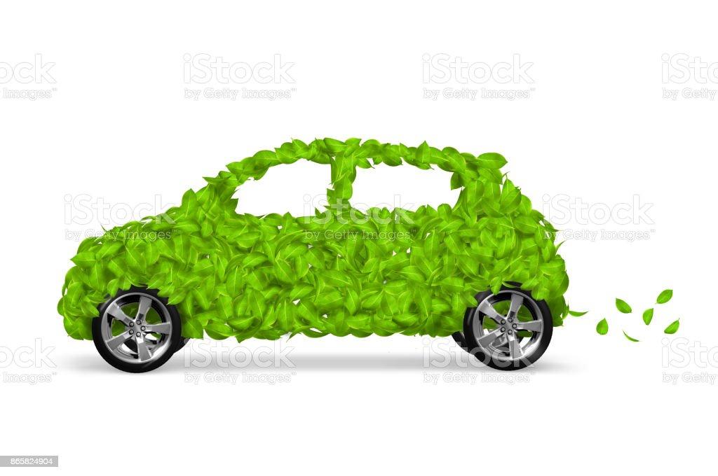 Green Leaf Eco Car stock photo