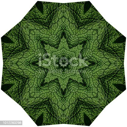 Green leaf kaleidoscope pattern